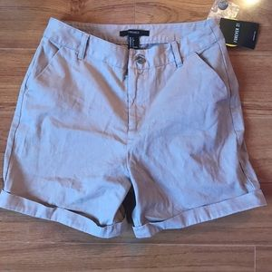 Forever 21 High-Rise Cuffed Woven Shorts